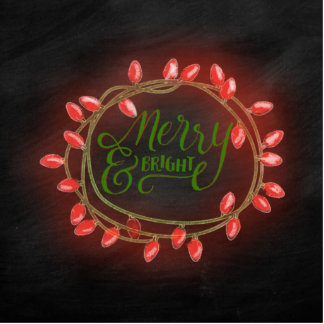 Red and Green Chalk Drawn Merry and Bright Holiday Photo Sculpture Button