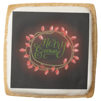 Red and Green Chalk Drawn Merry and Bright Holiday Square Shortbread Cookie