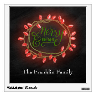 Red and Green Chalk Drawn Merry and Bright Holiday Wall Sticker