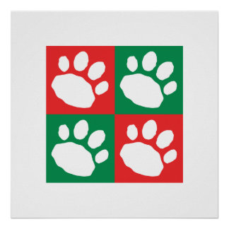 Red and Green Checkerboard Paw Print