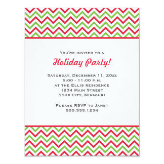Red and Green Chevron Christmas Party 4.25x5.5 Paper Invitation Card