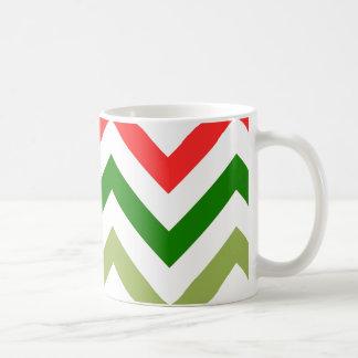 Red And Green Chevron Coffee Mugs