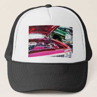 Red and Green Chevy Impalas and Engines Trucker Hat