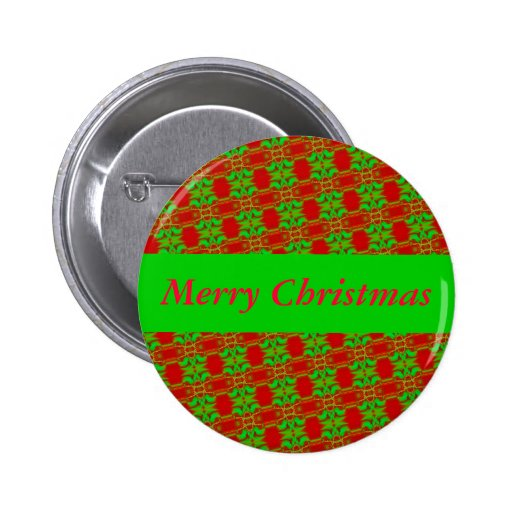 Red and Green Christmas 2 Inch Round Button