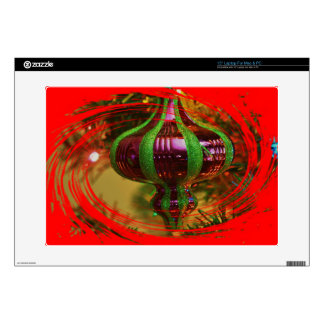 "Red and green Christmas bulb Zazzle Skin 15"" Laptop Skin"