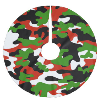 Red and Green Christmas Camo Brushed Polyester Tree Skirt