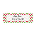 Red and Green Christmas Chevron Custom Return Address Label