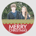 Red and Green Christmas Chevrons Classic Round Sticker