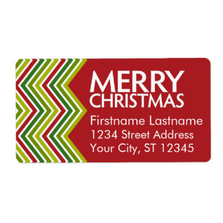 Red and Green Christmas Chevrons Shipping Label