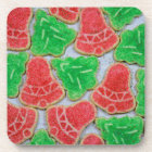 Red and green christmas cookies beverage coaster