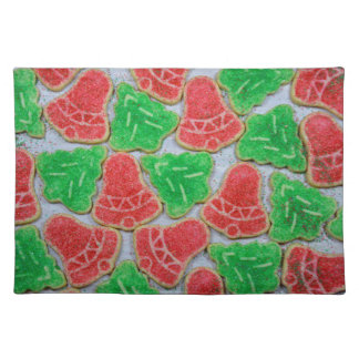 Red and green christmas cookies placemat