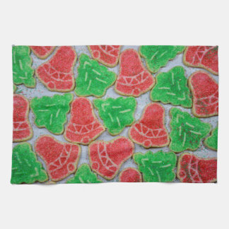 Red and green christmas cookies towel