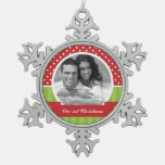 Red and Green Christmas Custom Photo Ornament
