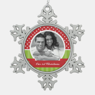 Red and Green Christmas Custom Photo Snowflake Pewter Christmas Ornament