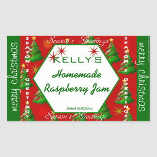 Red and green Christmas food label Rectangular Sticker
