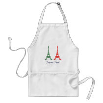 Red and Green Christmas French Theme Eiffel Towers Adult Apron