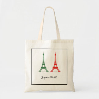 Red and Green Christmas French Theme Eiffel Towers Budget Tote Bag