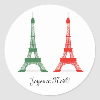 Red and Green Christmas French Theme Eiffel Towers Classic Round Sticker