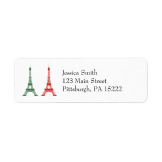 Red and Green Christmas French Theme Eiffel Towers Custom Return Address Label