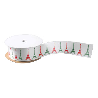 Red and Green Christmas French Theme Eiffel Towers Satin Ribbon
