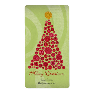 Red and Green Christmas Gift Present Tag Label