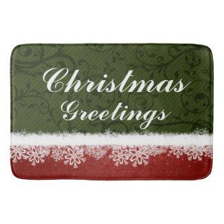 Red and Green Christmas Greetings Snowflakes Bath Mats