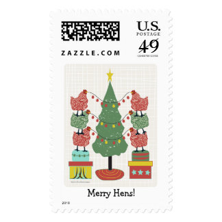 Red and Green Christmas hens decorate a tree Stamp