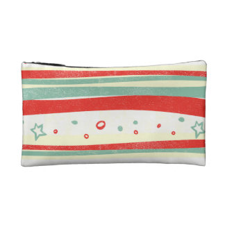 Red and Green Christmas Holiday Stripes Cosmetics Bags