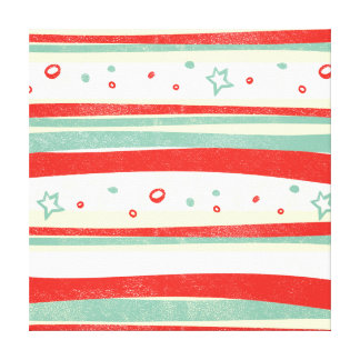 Red and Green Christmas Holiday Stripes Canvas Print