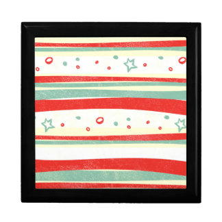 Red and Green Christmas Holiday Stripes Gift Box