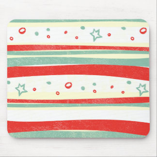 Red and Green Christmas Holiday Stripes Mouse Pad