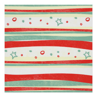 Red and Green Christmas Holiday Stripes Poster