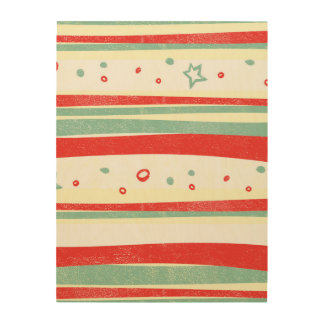 Red and Green Christmas Holiday Stripes Wood Wall Decor