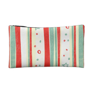Red and Green Christmas Holiday Vertical Stripes Makeup Bag