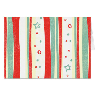 Red and Green Christmas Holiday Vertical Stripes Card