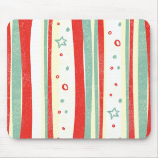 Red and Green Christmas Holiday Vertical Stripes Mouse Pad
