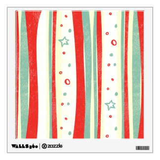 Red and Green Christmas Holiday Vertical Stripes Wall Decal