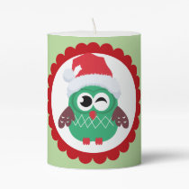 Red and Green Christmas Owl in Xmas Hat Pillar Candle