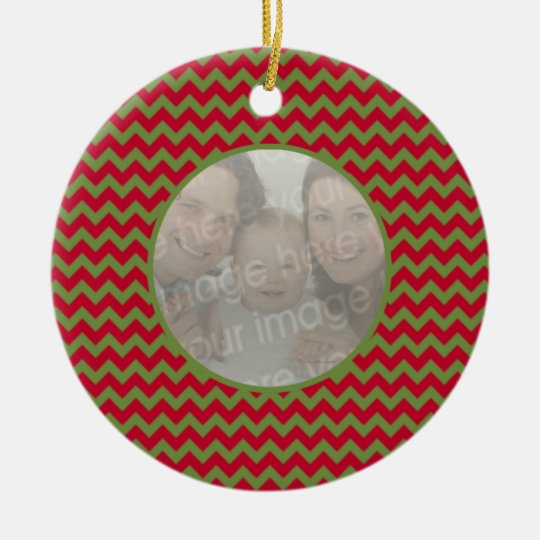 Red and Green Christmas Photo Ceramic Ornament