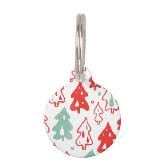Red and Green Christmas Pine Trees Pattern Pet Nametags