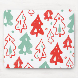 Red and Green Christmas Pine Trees Pattern Mouse Pad