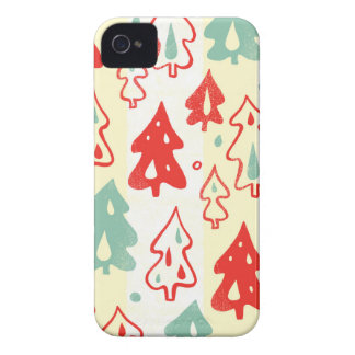 Red and Green Christmas Pine Trees Stripe Pattern Case-Mate iPhone 4 Case