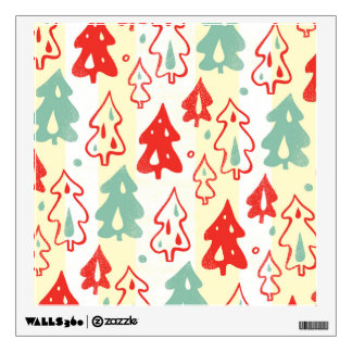 Red and Green Christmas Pine Trees Stripe Pattern Wall Decal