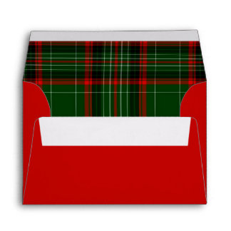 Red and Green Christmas Plaid Envelopes