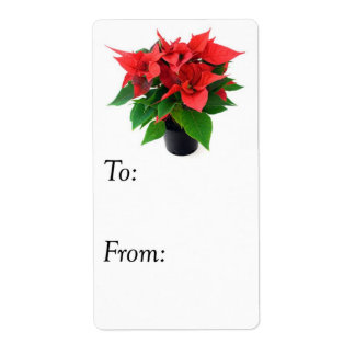 Red and Green Christmas Poinsettia Gift Tag