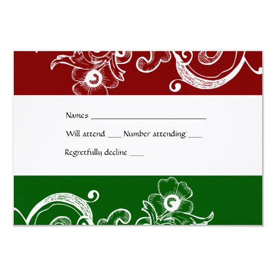 Red and Green Christmas rsvp with envelope Card