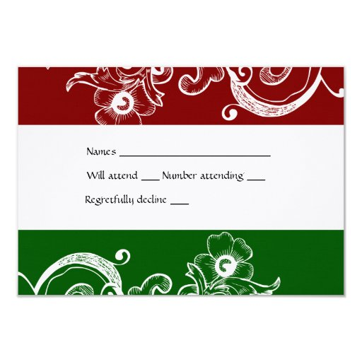 """Red and Green Christmas rsvp with envelope 3.5"""" X 5"""" Invitation Card"""
