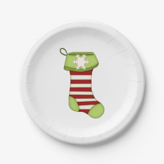Red and Green Christmas Stocking Paper Plate