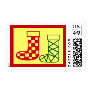 Red and Green Christmas Stockings Holiday Stamp
