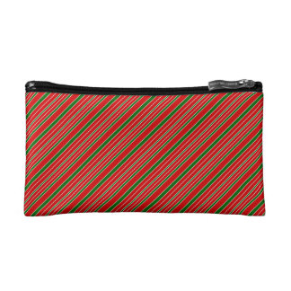 Red and Green Christmas Stripes Cosmetic Bag
